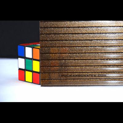 Сотовый поликарбонат премиум ROYALPLAST 8 мм Колотый Лед бронза